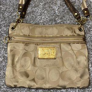 💕 Coach poppy gold brown large crossbody bag 💕